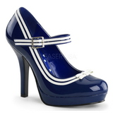 Blue Shiny 12 cm PINUP SECRET-15 Mary Jane Platform Pumps