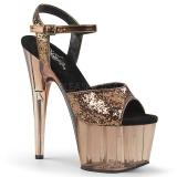 Bronze 18 cm ADORE-710GT glitter plateau high heels sko
