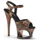 Bronze 18 cm MOON-710GT glitter plateau high heels sko