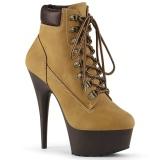 Brown Faux Suede 15 cm DELIGHT-600TL-02 pleaser ankle boots platform
