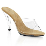 Brown Transparent 11 cm CARESS-401 Plateau Women Mules Shoes