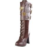 Brun 10 cm CRYPTO-302 plateau damestøvler med spænder