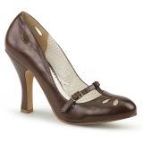 Brun 10 cm SMITTEN-20 Pinup pumps sko med lave hæle