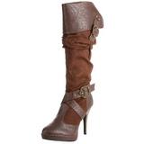 Brun 11,5 cm CARRIBEAN-216 plateau damestøvler med spænder