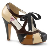 Brun 11,5 cm retro vintage BETTIE-19 damesko med høj hæl
