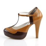 Brun 11,5 cm retro vintage BETTIE-29 Pinup pumps sko med skjult plateau