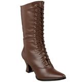 Brun 7 cm VICTORIAN-120 Dame Ankel Støvler med Snørebånd