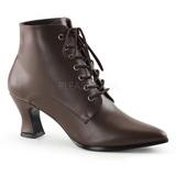 Brun 7 cm VICTORIAN-35 Dame Ankel Støvler med Snørebånd