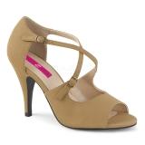 Brun Kunstlæder 10 cm DREAM-412 store størrelser sandaler dame