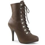 Brun Kunstlæder 12,5 cm EVE-106 store størrelser ankelstøvler dame