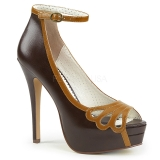 Brun Kunstlæder 13,5 cm BELLA-31 dame pumps sko med åben tå