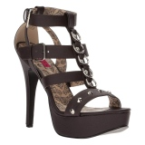 Brun Kunstlæder 14,5 cm Burlesque TEEZE-42W high heels brede fødder til mænd