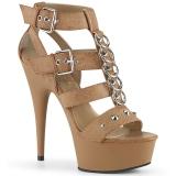 Brun Kunstlæder 15 cm DELIGHT-658 pleaser sko med høje hæle