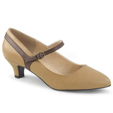 Brun Kunstlæder 5 cm FAB-425 store størrelser pumps sko