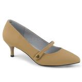 Brun Kunstlæder 6,5 cm KITTEN-03 store størrelser pumps sko