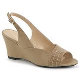 Brun Kunstlæder 7,5 cm KIMBERLY-01SP store størrelser sandaler dame