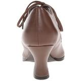 Brun Mat 7 cm retro vintage VICTORIAN-03 dame pumps med lave hæl