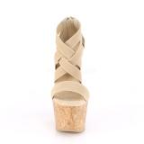 Brun bånd 16,5 cm BEAU-669 sandaler med kork kilehæle