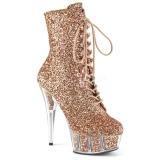 Brun glitter 15 cm DELIGHT-1020G ankelstøvler damer med plateausål