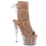 Brun glitter 18 cm ADORE-1018G ankelstøvler damer med plateausål