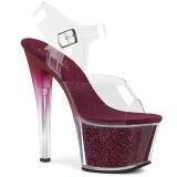 Burgundy 18 cm SKY-308G-T glitter platform sandals shoes