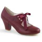 Burgundy 6,5 cm WIGGLE-32 retro vintage cuben heels maryjane pumps