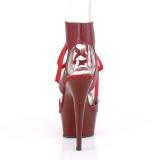 Burgundy Leatherette 15 cm DELIGHT-600-14 platform pleaser sandals