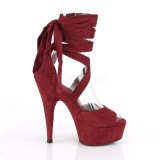 Burgundy Leatherette 15 cm DELIGHT-679 high heels with ankle laces