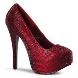 Burgundy Rhinestone 14,5 cm TEEZE-06R Platform Pumps Women Shoes