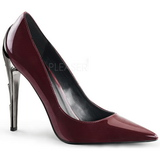 Burgundy Shiny 11,5 cm VOLTAGE-01 Low Heeled Classic Pumps Shoes
