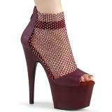 Burgundy high heels 18 cm ADORE-765RM glitter platform high heels