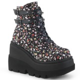 Canvas 11,5 cm SHAKER-52ST goth ankle boots wedge platform