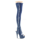 Canvas 15 cm DELIGHT-3030 Platform Thigh High Boots