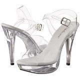 Clear 13 cm COCKTAIL-508 Acrylic Platform High Heeled Sandal