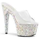 Clear 18 cm BEJEWELED-701MR Glittering Stones Platform Mules Shoes