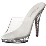 Clear Rhinestone Platform 13 cm LIP-101SDT Women Mules Shoes