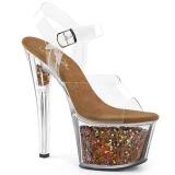 Copper 18 cm SKY-308GF glitter platform sandals shoes