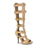 Creme 11,5 cm GLADIATOR-208 knæhøje gladiator sandaler til damer
