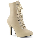 Creme Kunstlæder 12,5 cm EVE-106 store størrelser ankelstøvler dame
