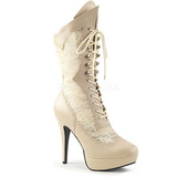 Creme Kunstlæder 13,5 cm CHLOE-115 store størrelser ankelstøvler dame