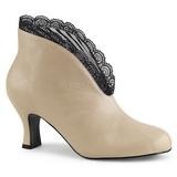 Creme Kunstlæder 7,5 cm JENNA-105 store størrelser ankelstøvler dame