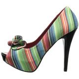 Flerfarvede 13 cm LOLITA-12 dame pumps sko med åben tå