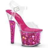 Fuchsia 18 cm RADIANT-708BHG Hologram plateau high heels sko