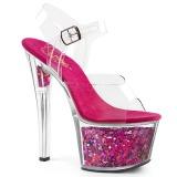 Fuchsia 18 cm SKY-308GF glitter platform sandals shoes