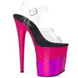 Fuchsia 20 cm FLAMINGO-808-2HGM glitter platform sandals shoes