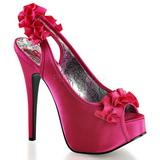 Fuchsia Satin 14,5 cm Burlesque TEEZE-56 Platform High Heeled Sandal Shoes