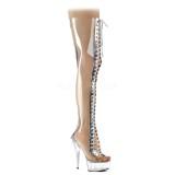 Gennemsigtig 15 cm DELIGHT-3026 lårlange støvler med snørebånd