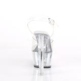 Gennemsigtig 15 cm FLASH-608CH poledance sandaler med LED pære plateau