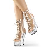 Gennemsigtig 15 cm KISS-1016C ankelstøvler damer med plateausål