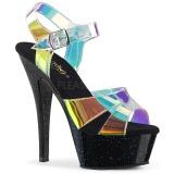 Gennemsigtig 15 cm KISS-220MMR højhælede sandaler til kvinder